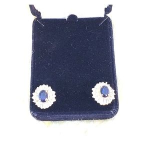 Stunning Sapphire Crystal Earrings in Gold Setting